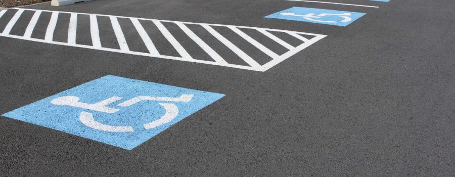 Handicapped Parking Space at Business Location Parking Lot in Houston - Parking Lot Striping Services - Houston TX - PavingRite Construction